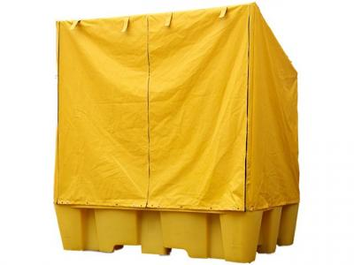 twin IBC spill pallet with rain cover zipped up