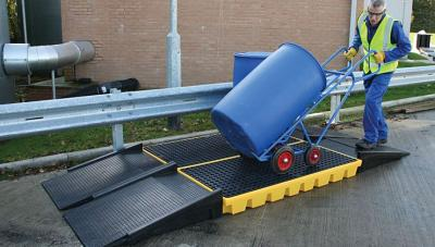 modular ramp in use with 4 drum workfloor