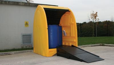 modular ramp in use with 4 drum spillshak