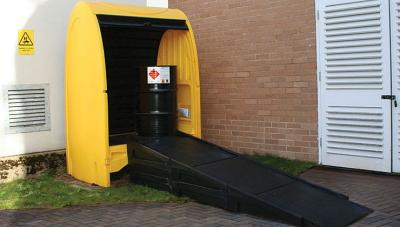 modular ramp in use with 2 drum spillshack