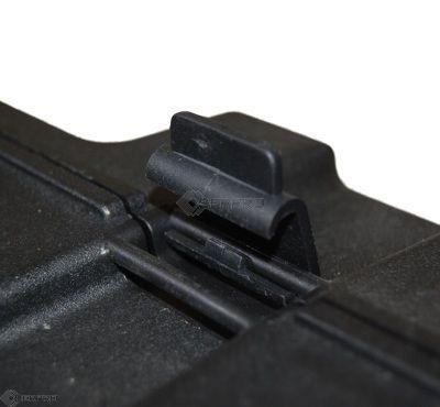 hinge on hard black plastic case