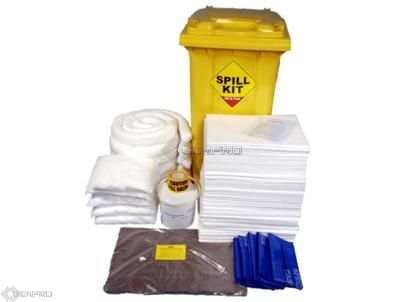 250 Litre Oil and Fuel Only Spill Kit in Wheeled Bin