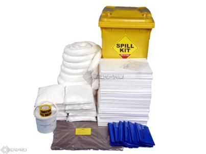 350 Litre Oil and Fuel Only Spill Kit in Wheeled Bin