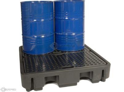 4 Drum Spill Pallet - Low Profile (BLACK)