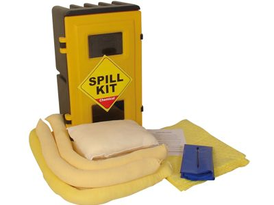 50 Litre Chemical Hazmat Spill Kit in a Durable Wall Cabinet