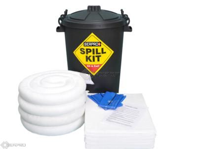 80 Litre Oil & Fuel Spill Kit in Black Drum