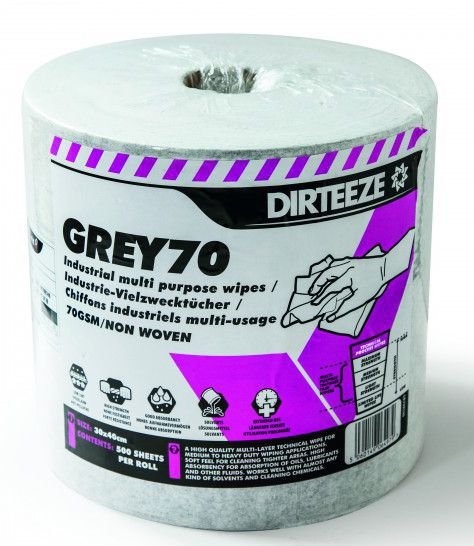 Dirteeze Grey70 Industrial Multi-Purpose Wipes Roll 500
