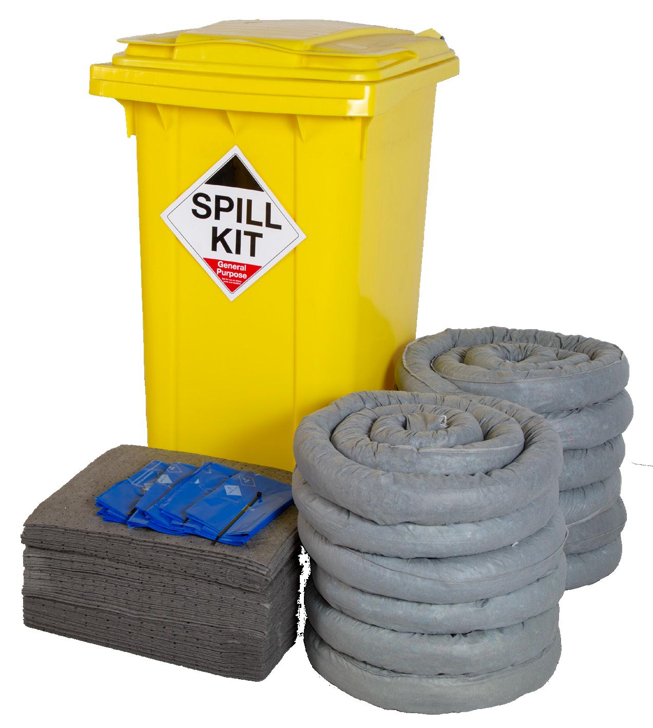 240 Litre General Purpose/Maintenance Spill Kit in Wheeled Bin