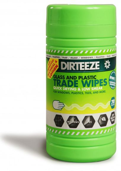 Dirteeze Spunlace Glass and Plastic Cleaning Wipes Tub 0f 80