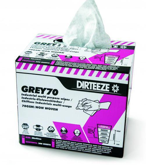 Dirteeze Grey70 Industrial Multi-Purpose Wipes Box 200