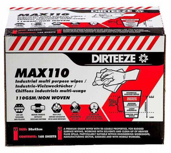 Dirteeze Max110 High Strength Multi Purpose Industrial Wipes Box 160