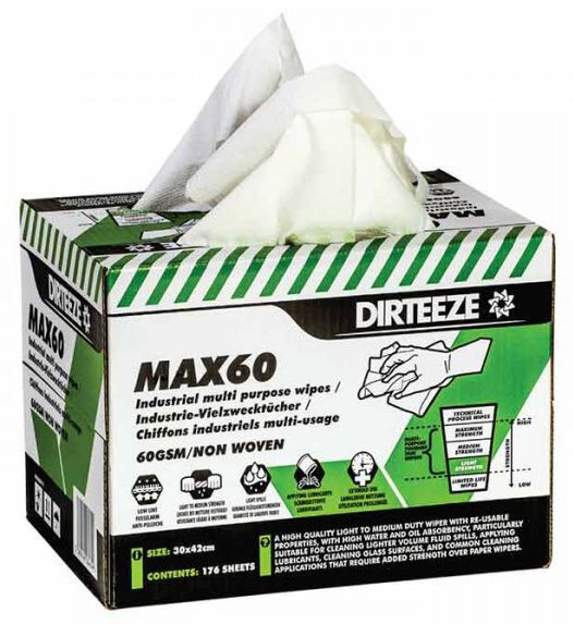 Dirteeze Max60 Standard Duty Industrial Multi-Purpose Wipes Box 176