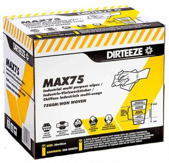 Dirteeze Max75 Medium Strength Multi Purpose Industrial Wipes Box 200