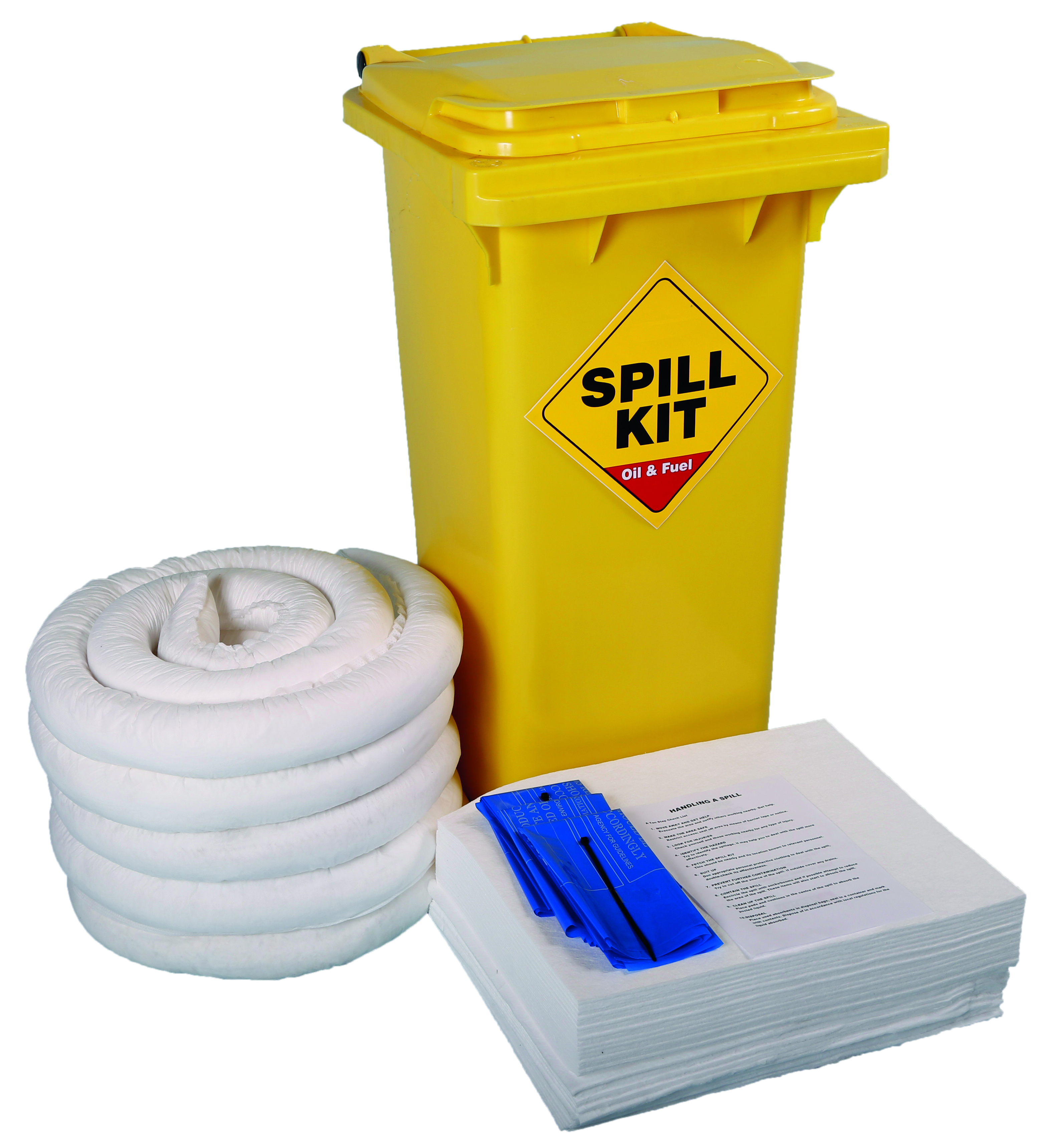 120 Litre Oil and Fuel Only Spill Kit in Wheeled Bin